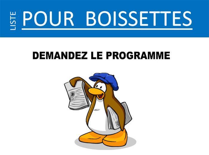 Liste pour Boissettes, programme